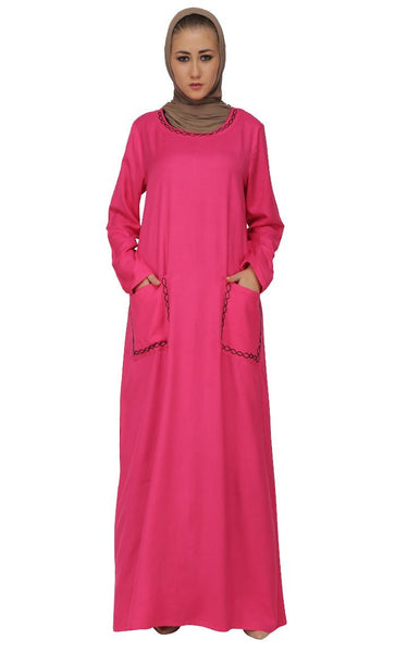 Pink Beads Embroidered Abaya Dress - EastEssence.com