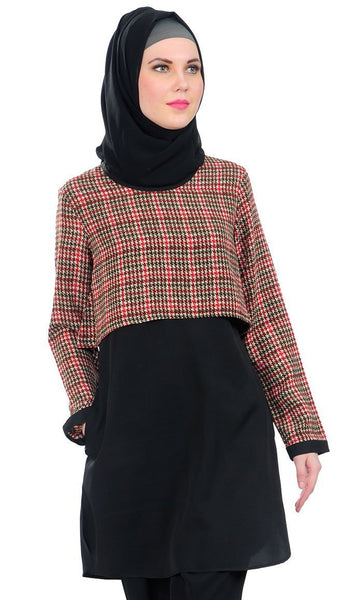 Plaid Overlapping Panel Modest Wear Tunic - EastEssence.com