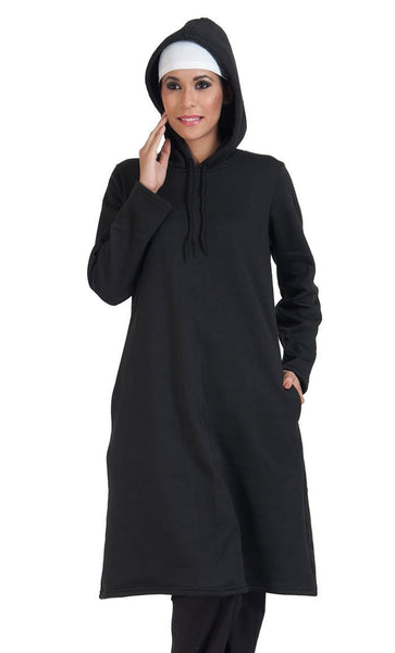Plain Extra Long Hoodie Sweatshirt - EastEssence.com