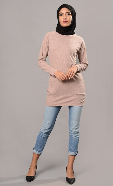 Plain pink pullover-Final Sale - EastEssence.com