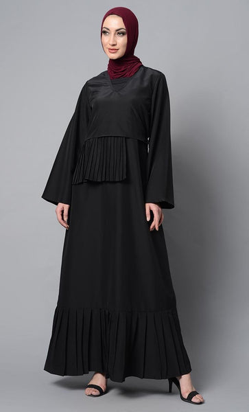 Pleated Black Abaya Dress - EastEssence.com