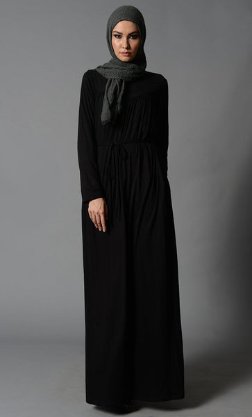 Pleated detail and knotted string lycra abaya dress - EastEssence.com