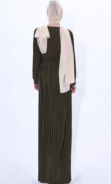 Pleated Detail Winter Abaya-Army Green - EastEssence.com