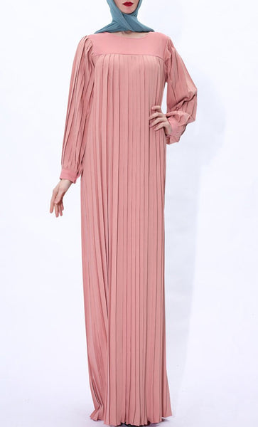 Pleated Detail Winter Abaya-Pink - EastEssence.com