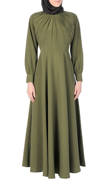 Pleated Panel Flared Abaya Dress - EastEssence.com