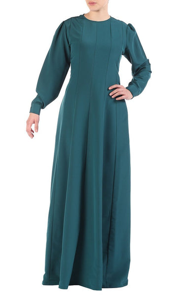 Pleated Paneled Basic Everyday Wear Abaya Dress - EastEssence.com
