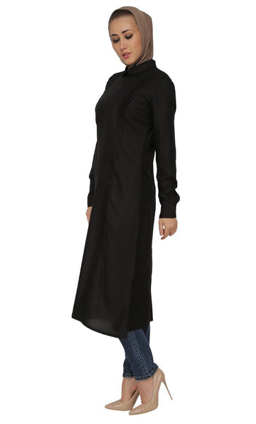 Pleated Panels And Peter Pan Collared Shirt Style Long Tunic - EastEssence.com