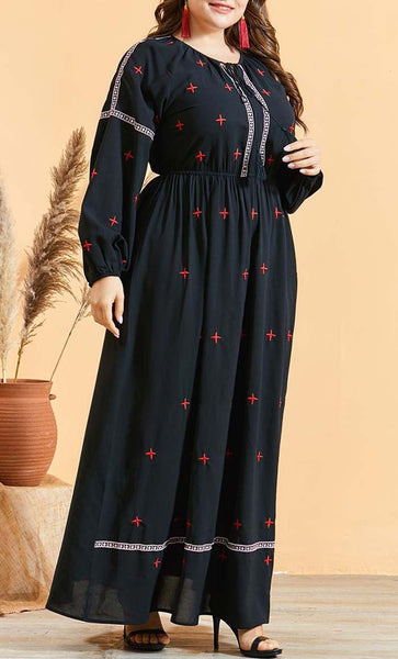 Plus Size Embroidered Basic Abaya- Black - EastEssence.com