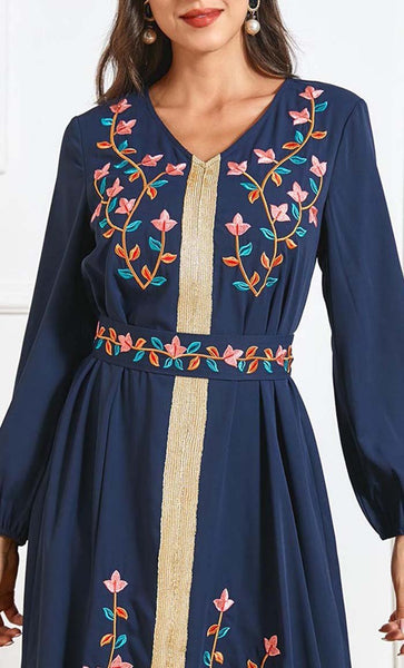Plus Size Floral Embroidery Moroccan Style Abaya-Navy - *Size Up* - EastEssence.com