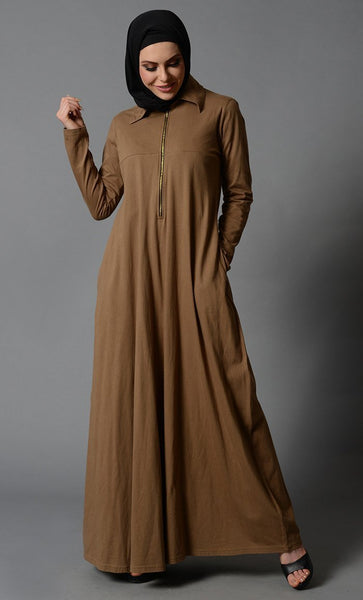 Polo shirt style straight fit basic abaya dress - EastEssence.com