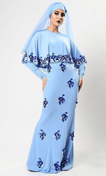Pretty Princess Abaya Dress - Baby Blue - EastEssence.com