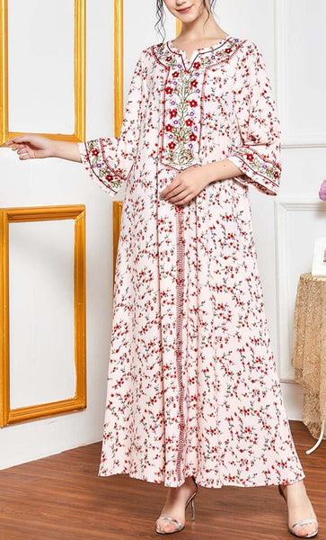 Pretty Vintage Floral Printed Abaya With Embroidery - *Size Up* - EastEssence.com