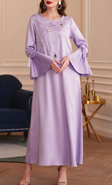 Princess Dream Jewelled Abaya-Violet - *Size Up* - EastEssence.com
