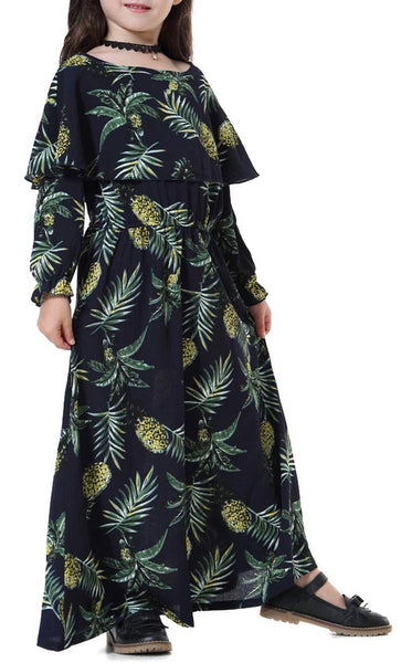 Printed Cape style Full Sleeves Girls Abaya (Navy Blue)-*Size Up* - EastEssence.com