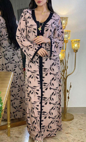 Printed Pink With Lace Loose Abaya Dress- *Size Up* - EastEssence.com