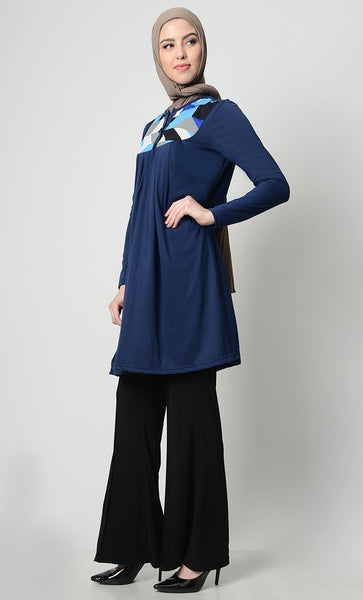 Printed Yoke Everyday Tunic - Navy - EastEssence.com