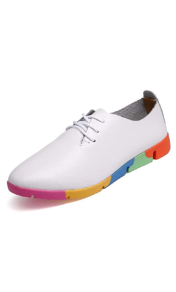 Rainbow Based Shoes - White - *Size Up* - EastEssence.com