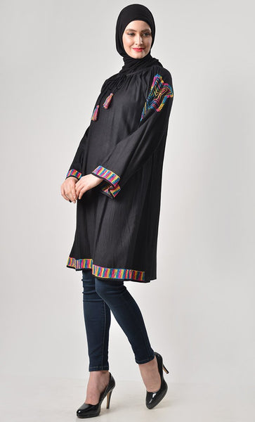 Rainbow Thread Embroidered Tunic - EastEssence.com