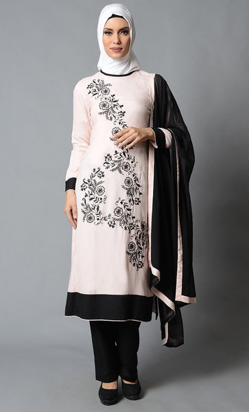 Rayon Salwar Kameez Set with Black Trims - EastEssence.com