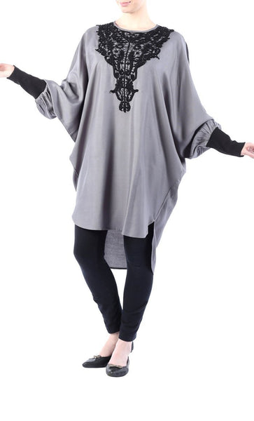 Rayon Tunic with lace embroidery on chest - EastEssence.com