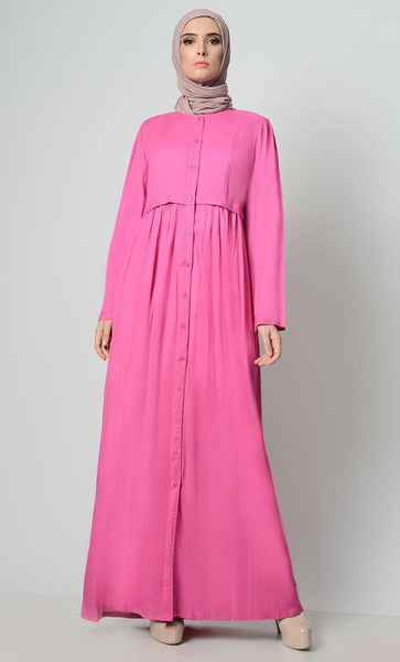 Rayon Waist Pleated Abaya - EastEssence.com