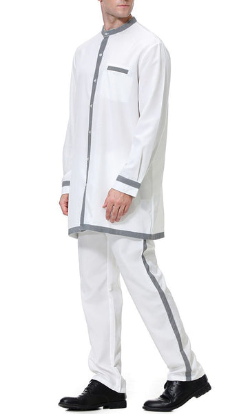 Regular Men's Short Kurta Set (White)-*Size Up* - EastEssence.com