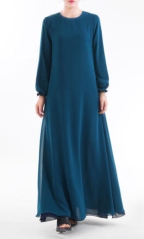 Reversible Abaya Popular Islamic Inside Out Muslim Dress Navy & Teal- *Size Up* - EastEssence.com