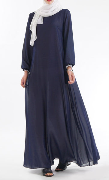 Reversible Abaya Popular Islamic Inside Out Muslim Dress Navy & White- *Size Up* - EastEssence.com