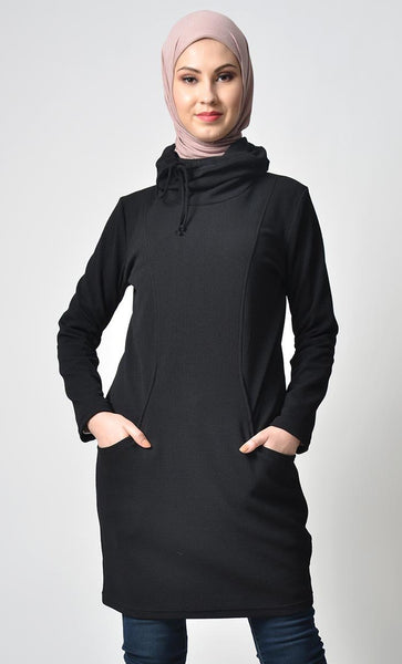 Rolled Up Collar Hoodie-Black - EastEssence.com