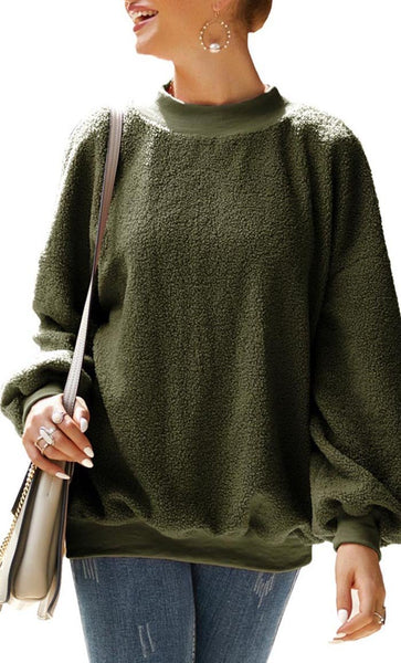 Round Neck Fall Sweater-Army Green - *Size Up* - EastEssence.com
