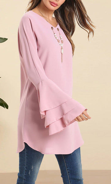 Round Neck Trumplet Sleeves Tunic - EastEssence.com