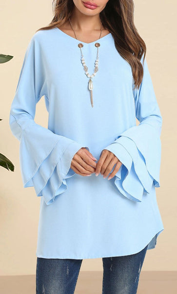 Round Neck Trumplet Sleeves Tunic - Blue - EastEssence.com