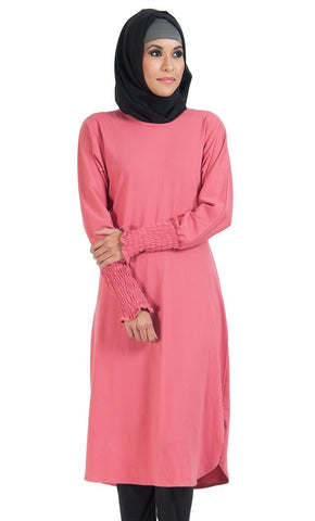 Round Neckline And Elasticated Cuffed Sleeves Tunic - EastEssence.com