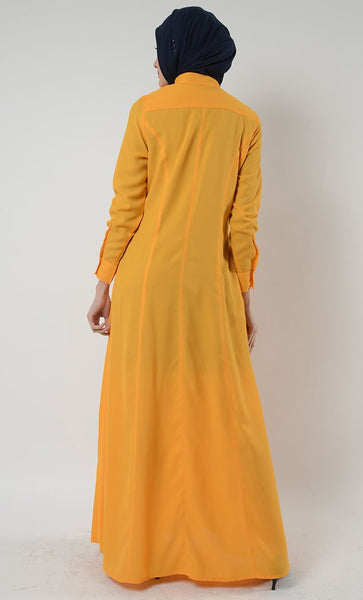 Ruffed Detail Button Down Muslimah Abaya Dress - EastEssence.com