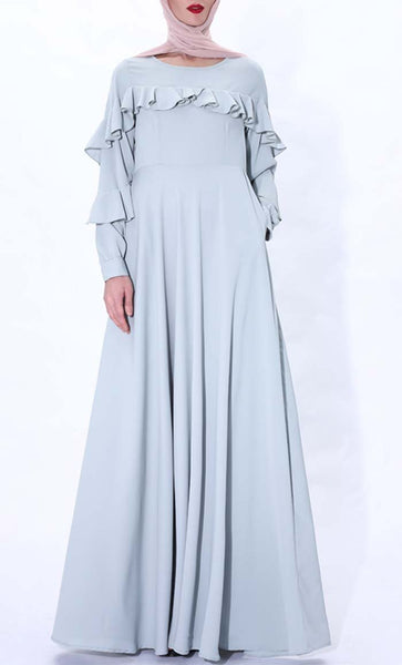 Ruffle Grace Abaya dress(Blue) - *Size Up* - EastEssence.com