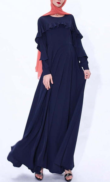 Ruffle Grace Abaya dress(Navy blue) - *Size Up* - EastEssence.com