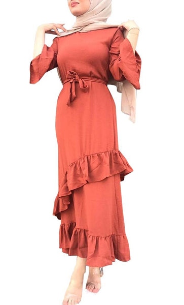 Ruffle Trend Summer Abaya (Wine red) - *Size Up* - EastEssence.com