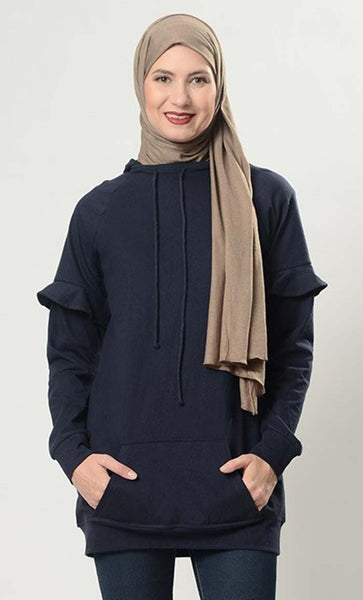 Ruffled Deatil On Sleeves Casual Hoodie Sweatshirt - EastEssence.com