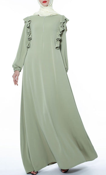 Ruffled Yoke Casual Abaya - Avocado Green - *Size Up* - EastEssence.com