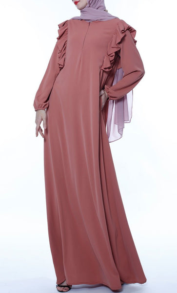 Ruffled Yoke Casual Abaya - Brick Red - *Size Up* - EastEssence.com