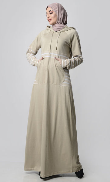 Sand Hooded Abaya With Front Pocket-Sand - EastEssence.com