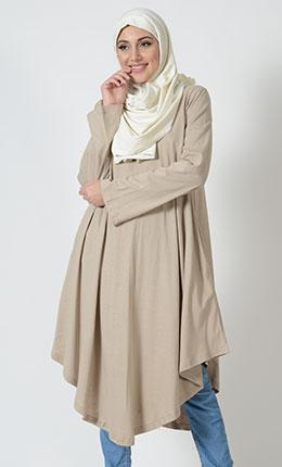 Sand - Long Flare V-Hem Tunic - EastEssence.com