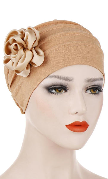 Satin Flower Applique Turban Bonnet - *Size Up* - EastEssence.com