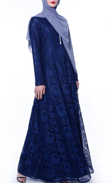 Self Floral Net Casual Abaya - Navy - *Size Up* - EastEssence.com