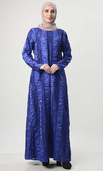 Self Net Lace Abaya With Lining - EastEssence.com