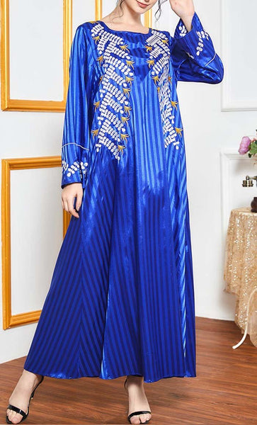 Self Printed Abaya With Embroidery - *Size Up* - EastEssence.com