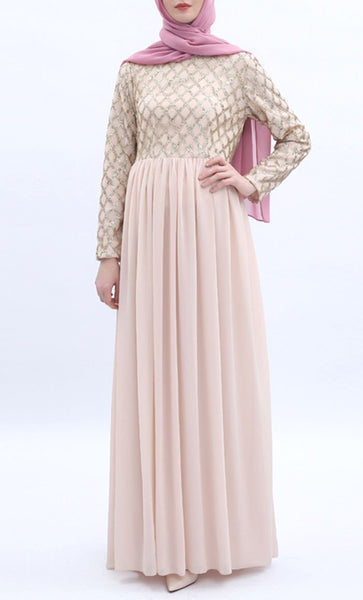 Sequin Embroidered Abaya - Champagne pink - *Size Up* - EastEssence.com