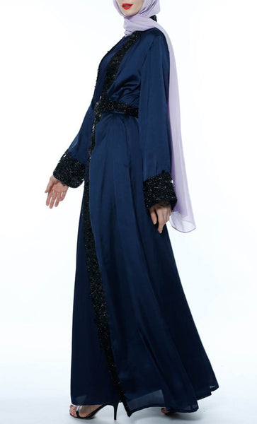 Sequin Lace Trim Shrug - Navy - *Size Up* - EastEssence.com