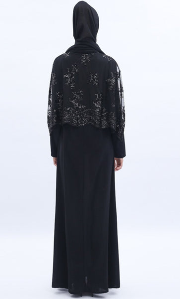 Sequin Shimmer 2pc Abaya - Black - *Size Up* - EastEssence.com