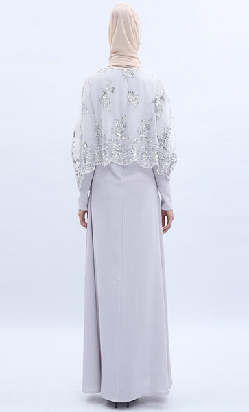 Sequin Shimmer 2pc Abaya - Light Grey - *Size Up* - EastEssence.com